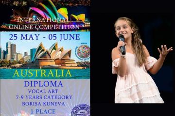 9-годишната Бориса от Русе спечели 1-во място на международен певчески конкурс в Австралия
